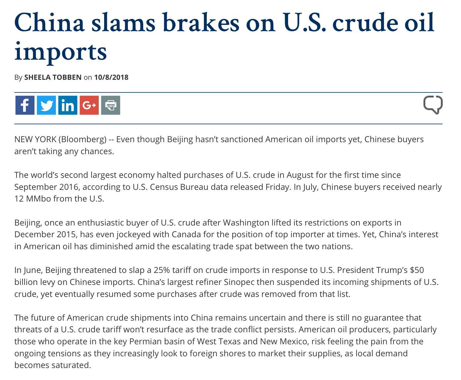 China Slams Breaks On US Crude Oil Imports