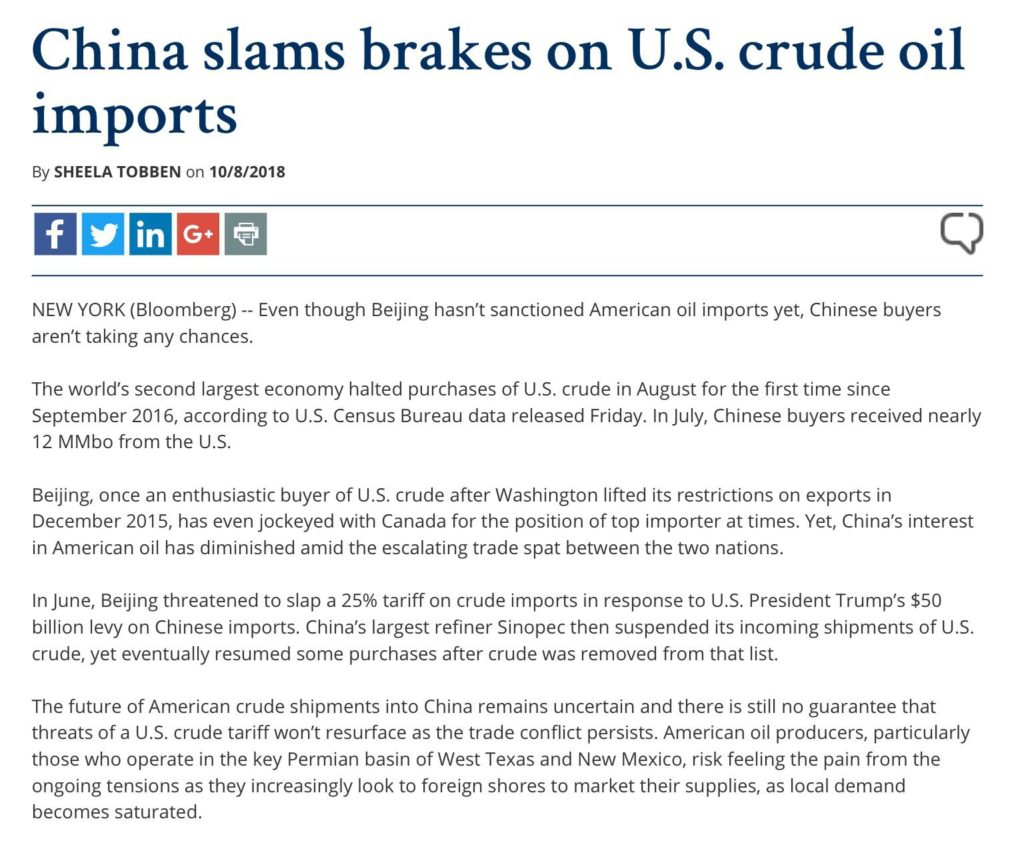 China Slams Breaks On US Crude Oil Imports | EnerGnostics